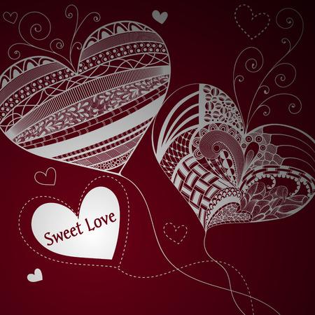 vinous: Balloons in shape of heart. Hand drawn. Valentines Day. Vinous background Illustration