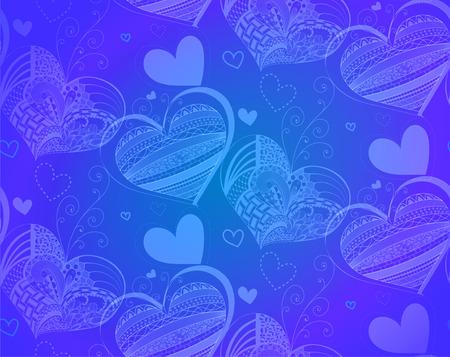 corazones azules: ilustración vectorial sin patrón con el corazón, fondo azul