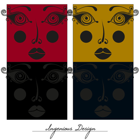 ingenious: Beautiful faces, creative design, colorful vector collection Illustration