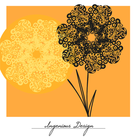ingenious: Vector flowers over yellow background, vector illustration.