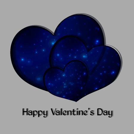 Sterrenhart van de nachthemel, valentijnskaart, vectorillustratie Stock Illustratie