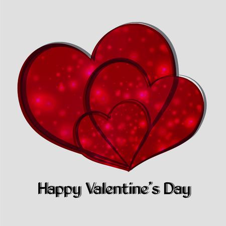 Valentine. Fijne Valentijnsdag. Drie rood hart