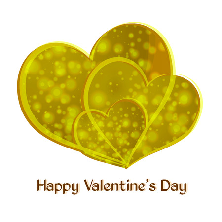Valentine. Happy Valentines Day. Three yellow heart