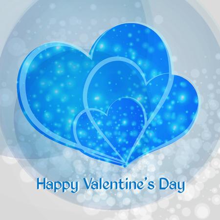 Valentine. Fijne Valentijnsdag. Drie blauw hart