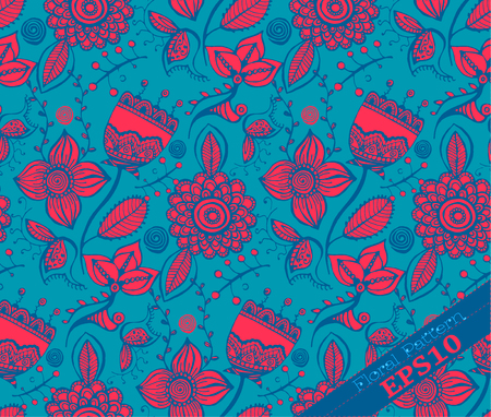 Repeating Modern Floral Background Pattern. Flower Vector Pattern. Blue And  Fuchsia Stock Vector