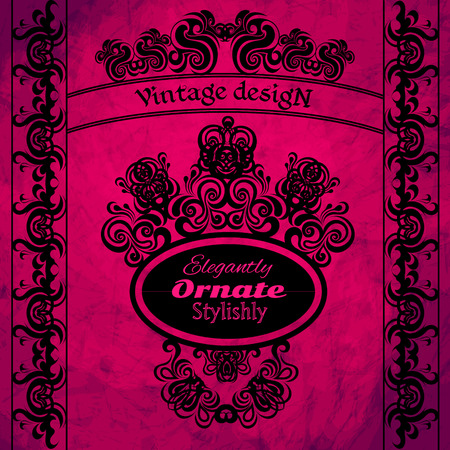 indent: Vintage design elements on a pink background. Making antique postcards, letters, documents, invitations, posters