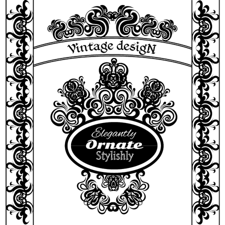 indent: Vintage design elements on a white background. Making antique postcards, letters, documents, invitations, posters