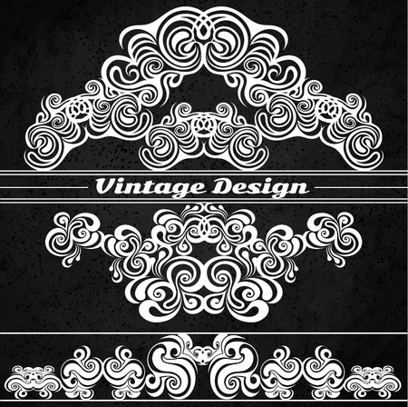 indent: Vintage design elements on a grunge background. Making antique postcards, letters, documents, invitations, posters
