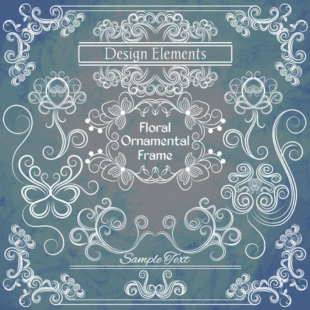 indent: Vector floral design elements on shabby background.