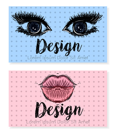 two companies: Two business card template for beauty salon, make-up or cosmetic companies. Vector illustration