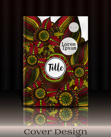 hard cover: Cover design. Cover template with hand drawn flowers and place for your text. Can be used for cover book, notebook, artbook, sketchbook, diary, journal, catalog. Vector illustration, eps10