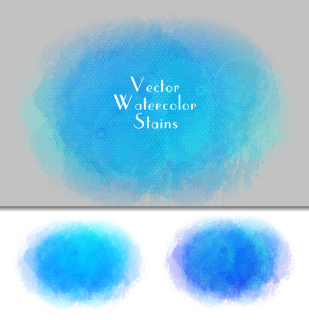 Set of vector watercolor spot. Watercolor background. Colorful abstract texture. Bright watercolor stain. Vector art banner. Azure colors
