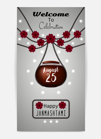 toran: Happy Janmashtami. Illustration of hanging dahi handi. Template for flyer or invitation. Vector illustration
