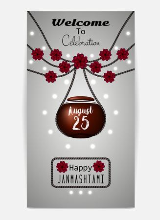 toran: Happy Janmashtami. Illustration of hanging dahi handi. Template for flyer or invitation. Vector illustration