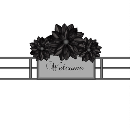 victorian fence: Elegant design element with black flowers in a gothic style. Vector illustration