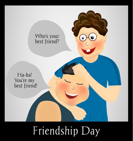 twain: Friendship Day. International holiday. Two best friends. Funny playful festive background. Vector illustration Illustration