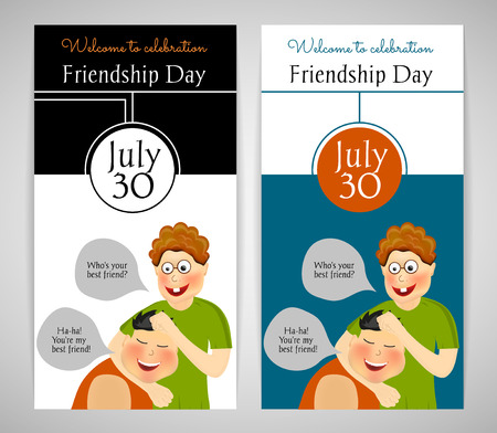twain: Friendship Day. International holiday. Two best friends. Funny playful festive background. Two template. Flyer, banner or invitation. Vector illustration