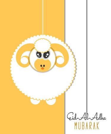 sacrificio: Muslim community festival of sacrifice Eid-Al-Adha greeting card with sheep. Vectores