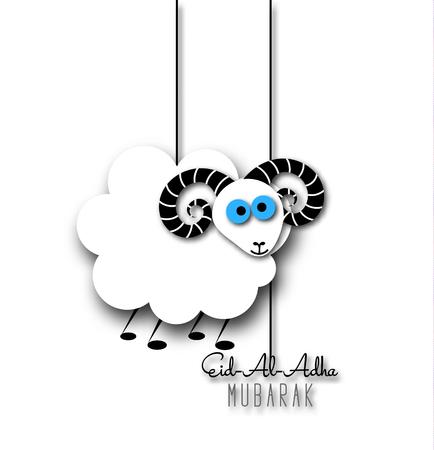 sacrificio: festival de la comunidad musulmana del sacrificio tarjeta de felicitación de Eid-al-Adha con las ovejas. Vectores