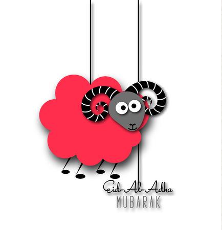Muslim community festival of sacrifice Eid-Al-Adha greeting card with sheep. Illustration