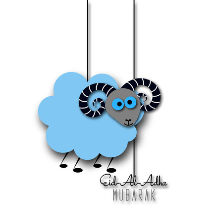 sacrifice: festival de la comunidad musulmana del sacrificio tarjeta de felicitación de Eid-al-Adha con las ovejas. Vectores