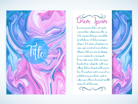 marbling: Cover template with marbling. Can be used for postcard, invitation, brochure, cover book, catalog. Size A4.
