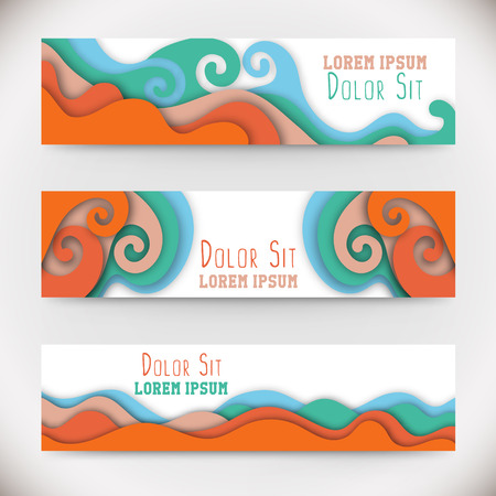 hillock: Three colorful horizontal banners with curved shapes as a wave or hill.