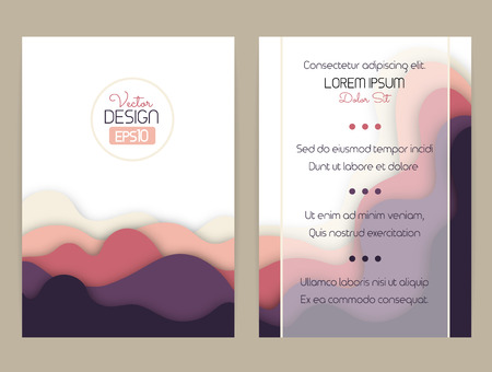 Cover design with curved shapes as a wave or hill. Brochure, flyer, invitation or certificate. Material design.