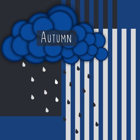 gray strip backdrop: Autumn. Abstract striped background with blue cloud and rain. Illustration