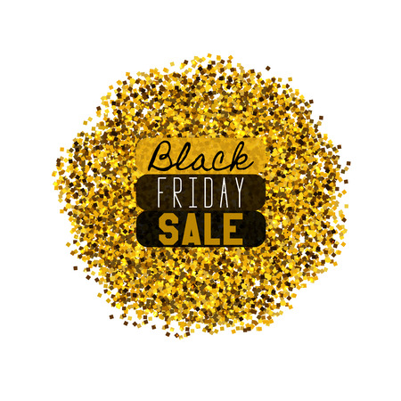 dazzling: Big Black Friday Sale. Golden glitter. Sparkles on white background. Glowing elements. Banner.
