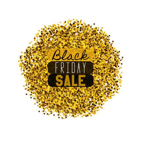 Big Black Friday Sale. Golden glitter. Sparkles on white background. Glowing elements. Banner.