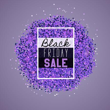 Big Black Friday Sale. Purple glitter. Sparkles on purple background. Glowing elements. Banner.
