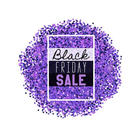 Big Black Friday Sale. Purple glitter. Sparkles on white background. Glowing elements. Banner.