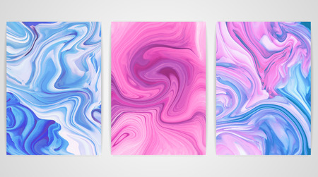 a4 borders: Three paintings with marbling. Marble texture. Paint splash. Colorful fluid. It can be used for poster, brochure, invitation, cover book, catalog.