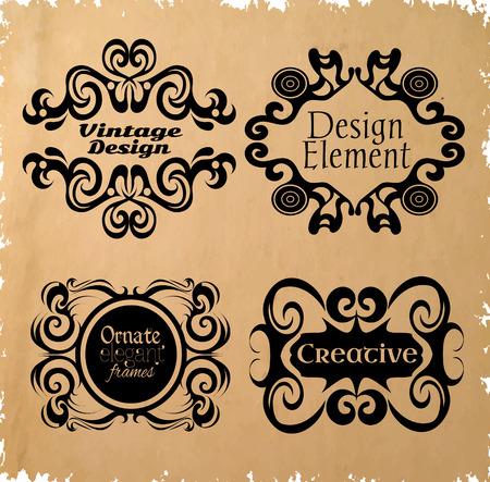 gothic style: Design element. Vintage frames. Ornamental borders. Gothic style. Illustration