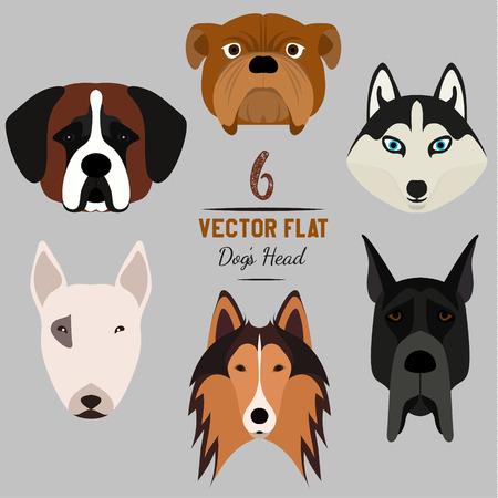 Set of 6 dogs head. Flat design. Pets. Cute doggies. Illustration