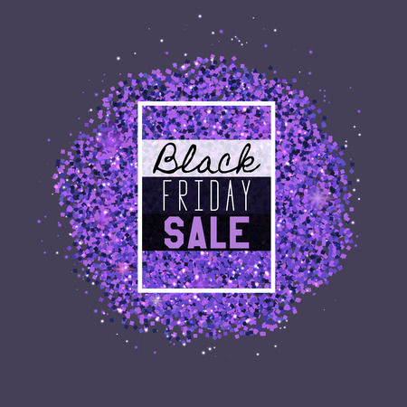 Big Black Friday Sale. Purple glitter. Sparkles on purple background. Glowing elements.