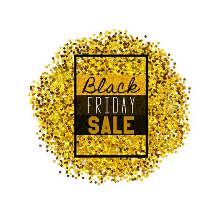 Big Black Friday Sale. Golden glitter. Sparkles on white background.