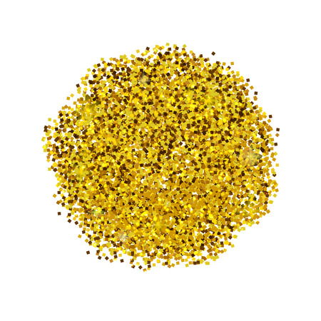 Golden glitter. Sparkles on white background. Glowing elements. Banner.