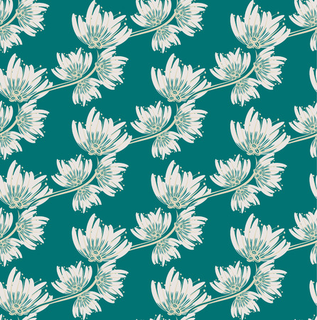 sloppy: Floral seamless pattern. Hand drawn creative flower. Colorful artistic background with blossom. Abstract herb. It can be used for wallpaper, textiles, wrapping, card. Vector illustration, eps10