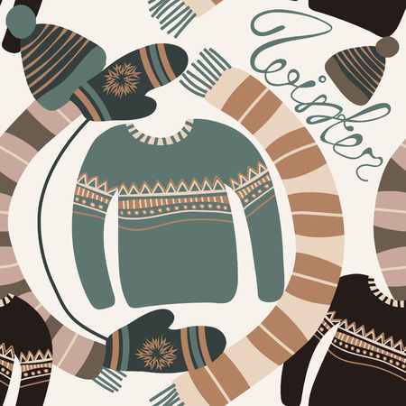 warm weather: Seamless pattern with winter clothing. Warm woollies. Clothes for cold weather. Mittens,hats, scarf, sweaters with ornament. Repeating background. Vector illustration, eps10