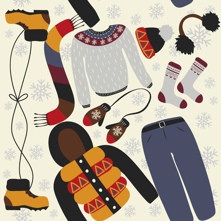 warm weather: Seamless pattern with winter clothing. Warm woollies. Clothes for cold weather.