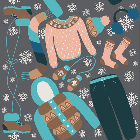 Seamless pattern with winter clothing. Warm woollies.