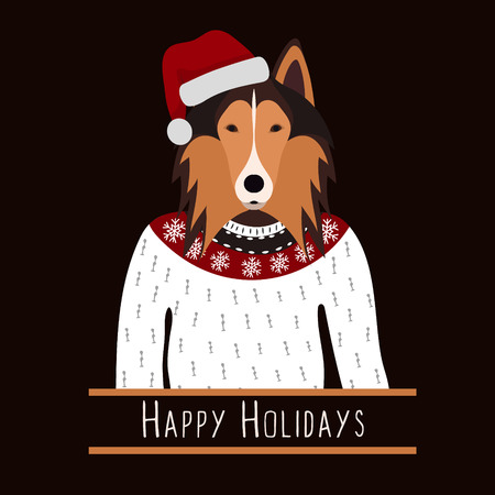 rough: Greeting background with Rough Collie.