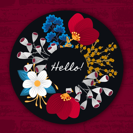 Floral round frame. Hand drawn flowers around circle. Colorful background with blossom.
