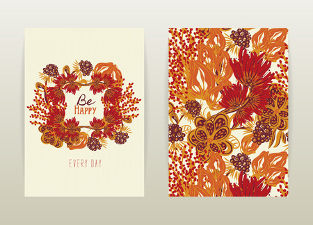 a4 borders: Cover design with floral pattern. Hand drawn creative flowers. Colorful artistic background with blossom.