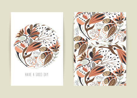 a4 borders: Cover design with floral pattern. Hand drawn creative flower. Colorful artistic background with blossom. It can be used for invitation, card, cover book, catalog. Size A4. Vector illustration, eps10