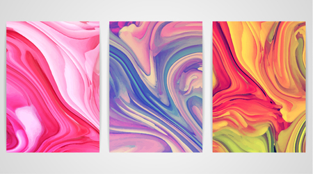 a4 borders: Three paintings with marbling. Marble texture. Paint splash. Colorful fluid. It can be used for poster, brochure, invitation, cover book, catalog. Size A4. Vector illustration eps10