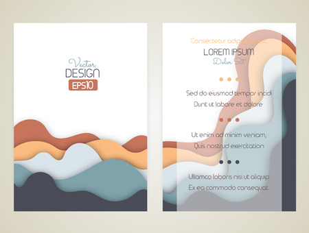 hillock: Cover design with curved shapes as a wave or hill. Brochure, flyer, invitation or certificate. Material design. Size a4. Vector illustration, eps10 Illustration