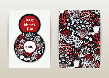 8 march. Happy Womens Day. Spring holiday. Card design with floral pattern. Hand drawn creative flowers. Colorful artistic background with blossom. Size A4. Vector illustration, eps10 Illustration